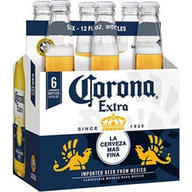A six pack of Corona beers, available at a 7-Eleven near me 24/7.