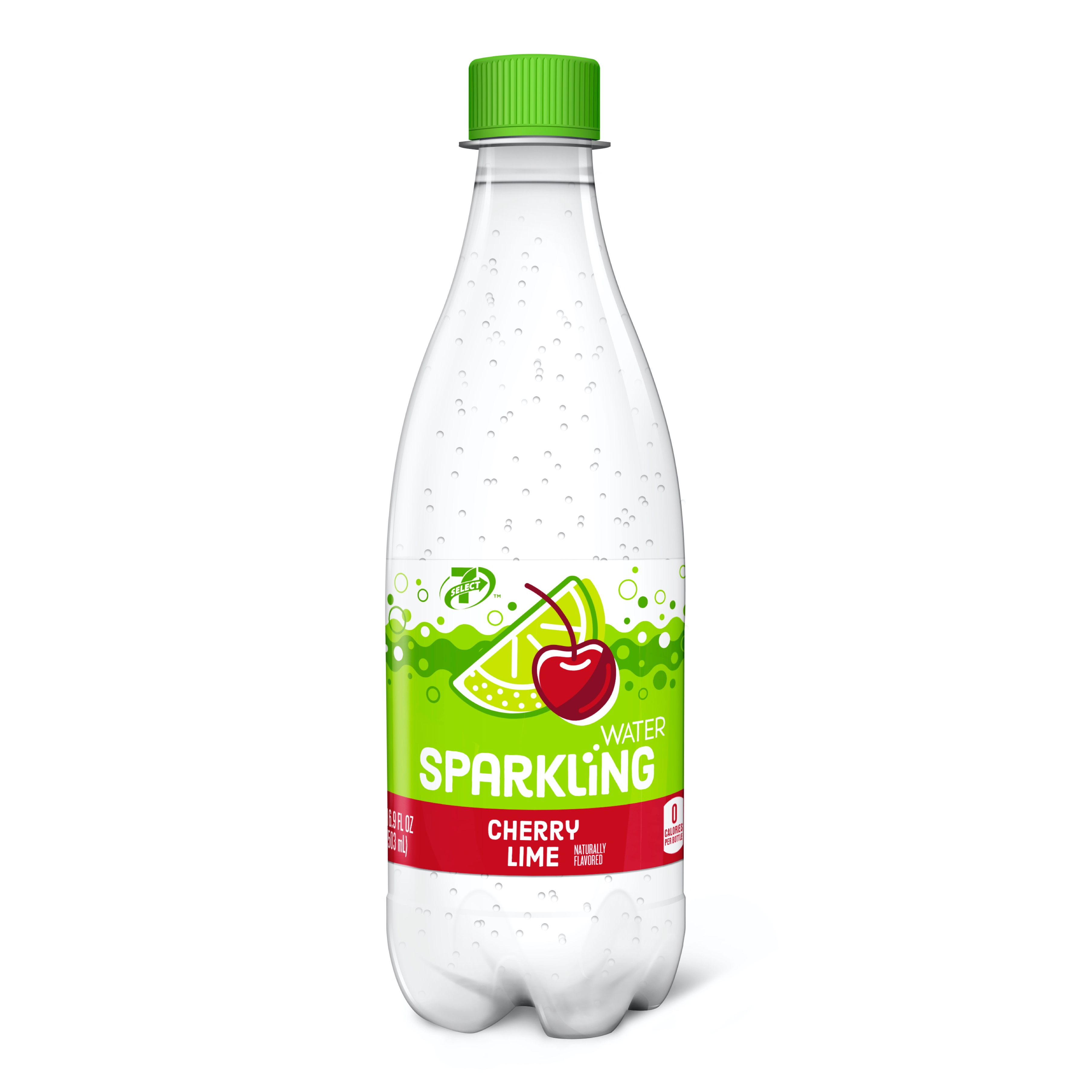 7-Eleven 7-Select sparkling bottled water in Cherry & Lime flavor