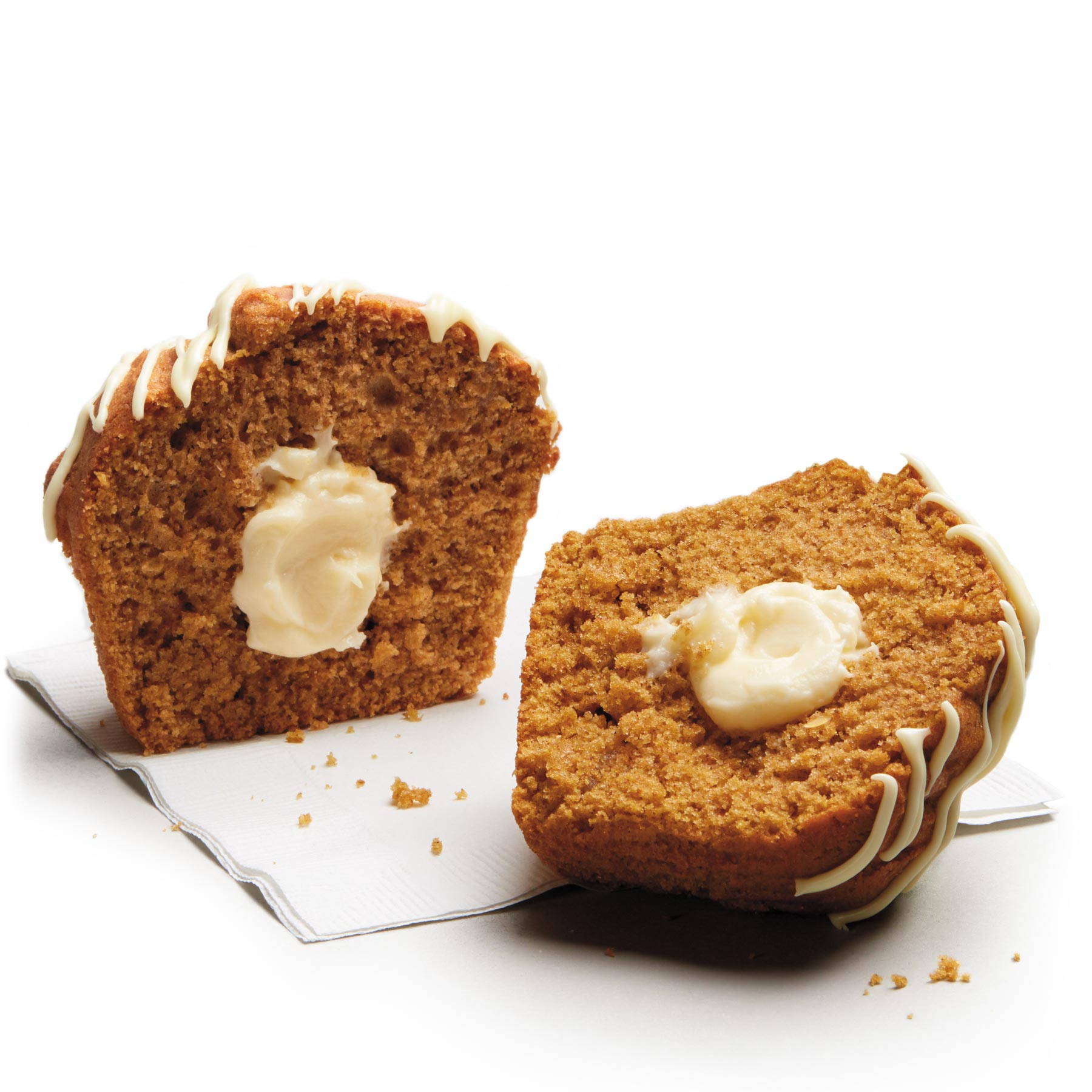 A cream cheese filled pumpkin muffin, perfectly sweet with just a little spice.