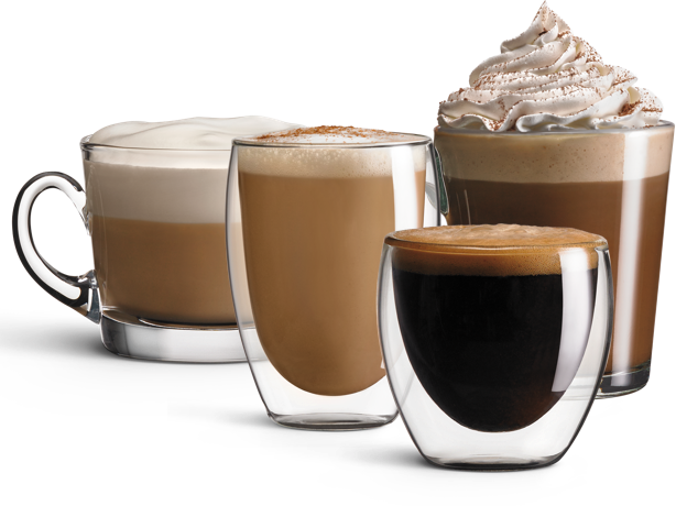 Cappuccino, latte, mocha and espresso