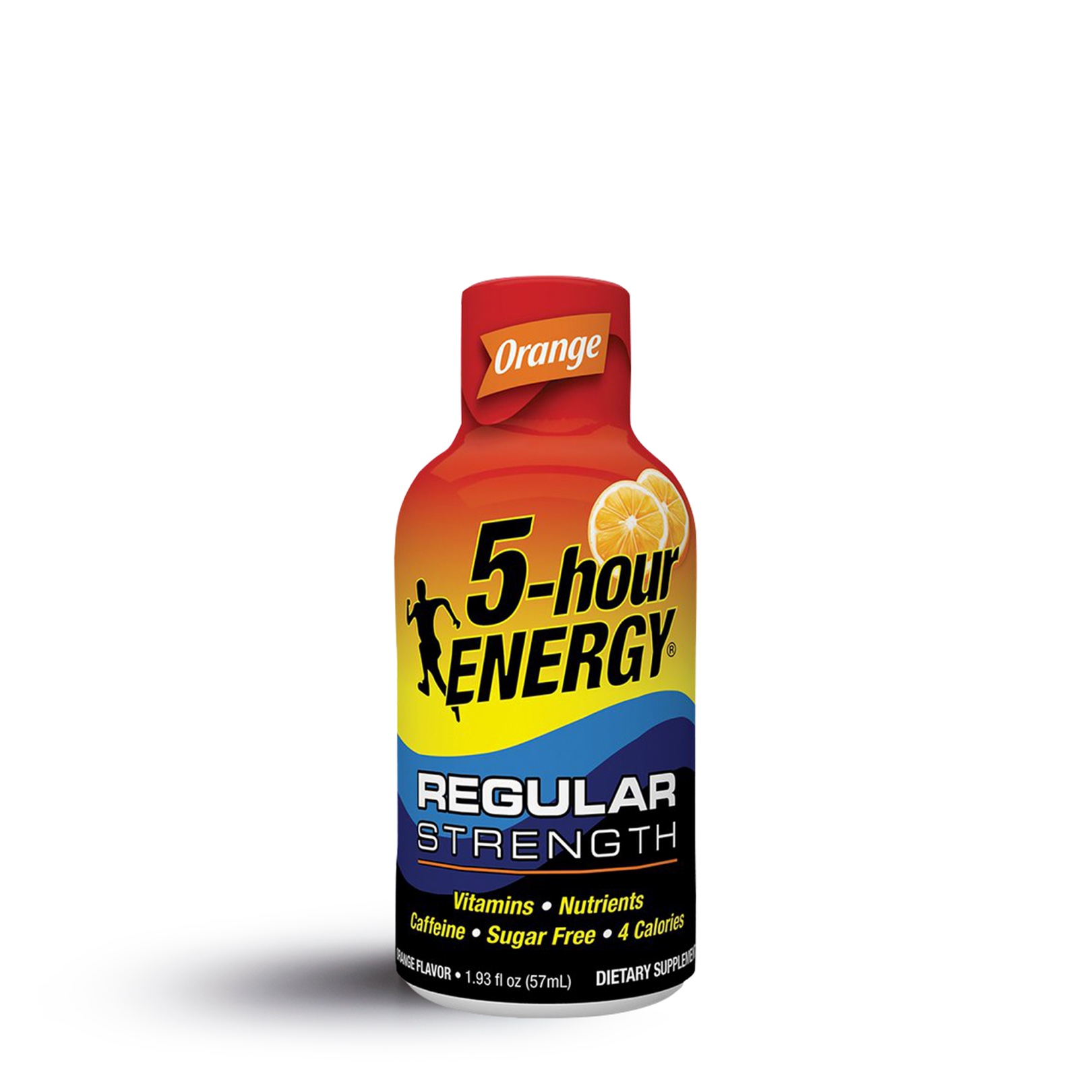 A single 5-hour energy shot in orange flavor.