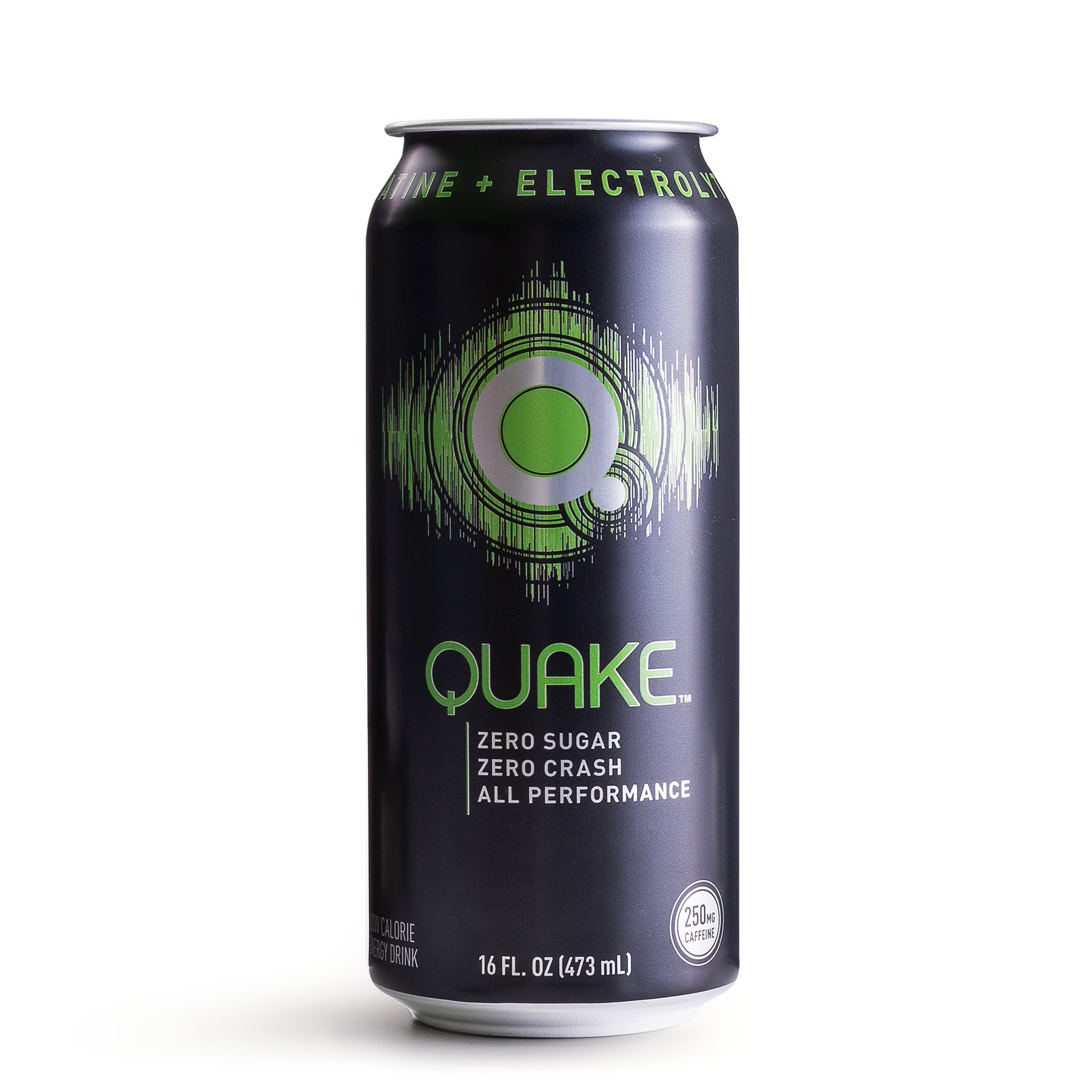 A single 16fl. oz can of Quake energy drink in original flavor.
