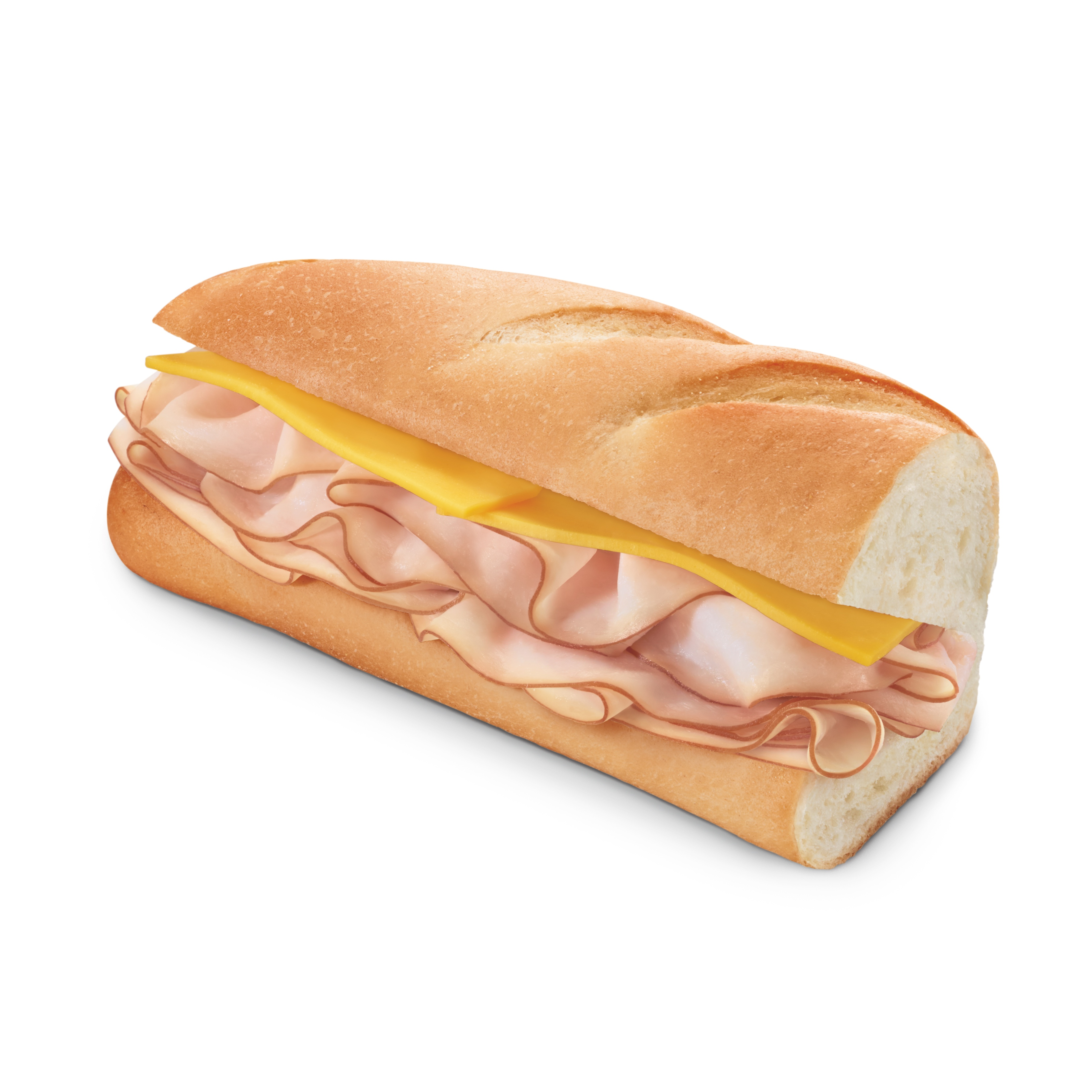 A freshly made 7-Eleven turkey and cheese sub sandwich.