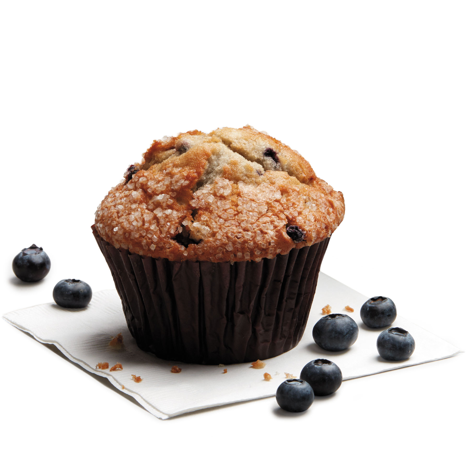 A freshly baked blueberry muffin.