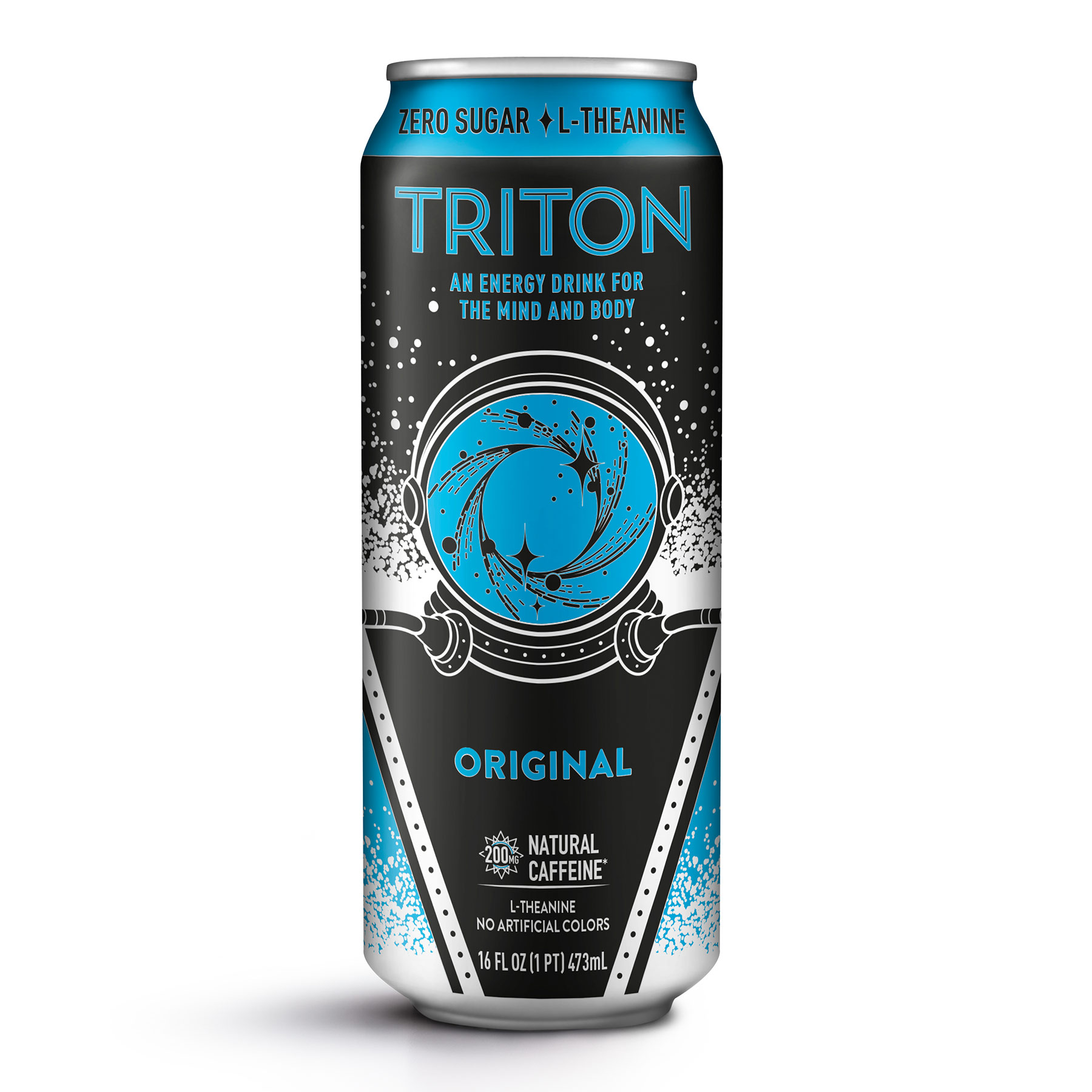 A single 16fl. oz can of Triton energy drink in original flavor, with 200mg of natural caffeine, zero sugar added and L-Theanine.