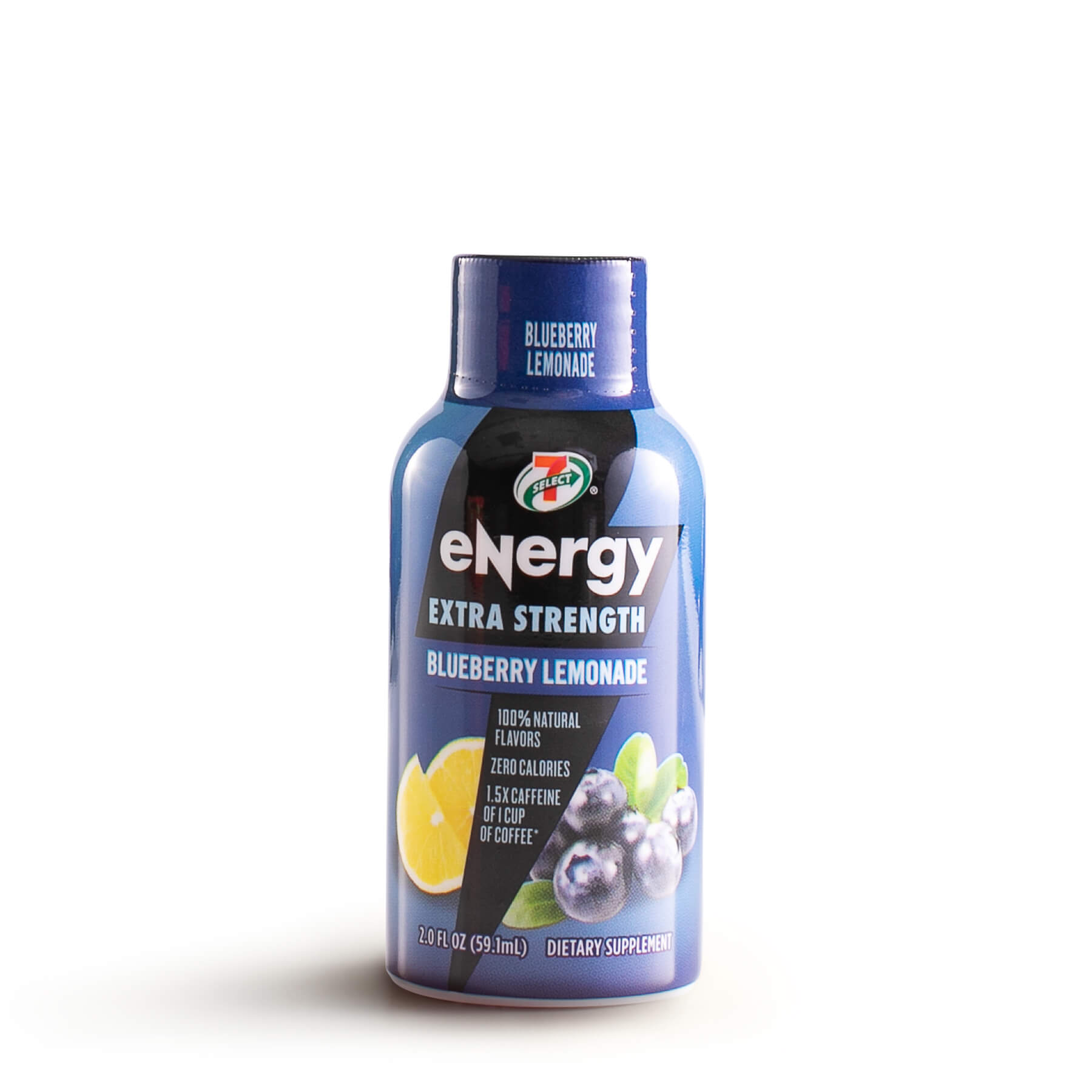A single 7-select extra strength energy shot in blueberry lemonade flavor.