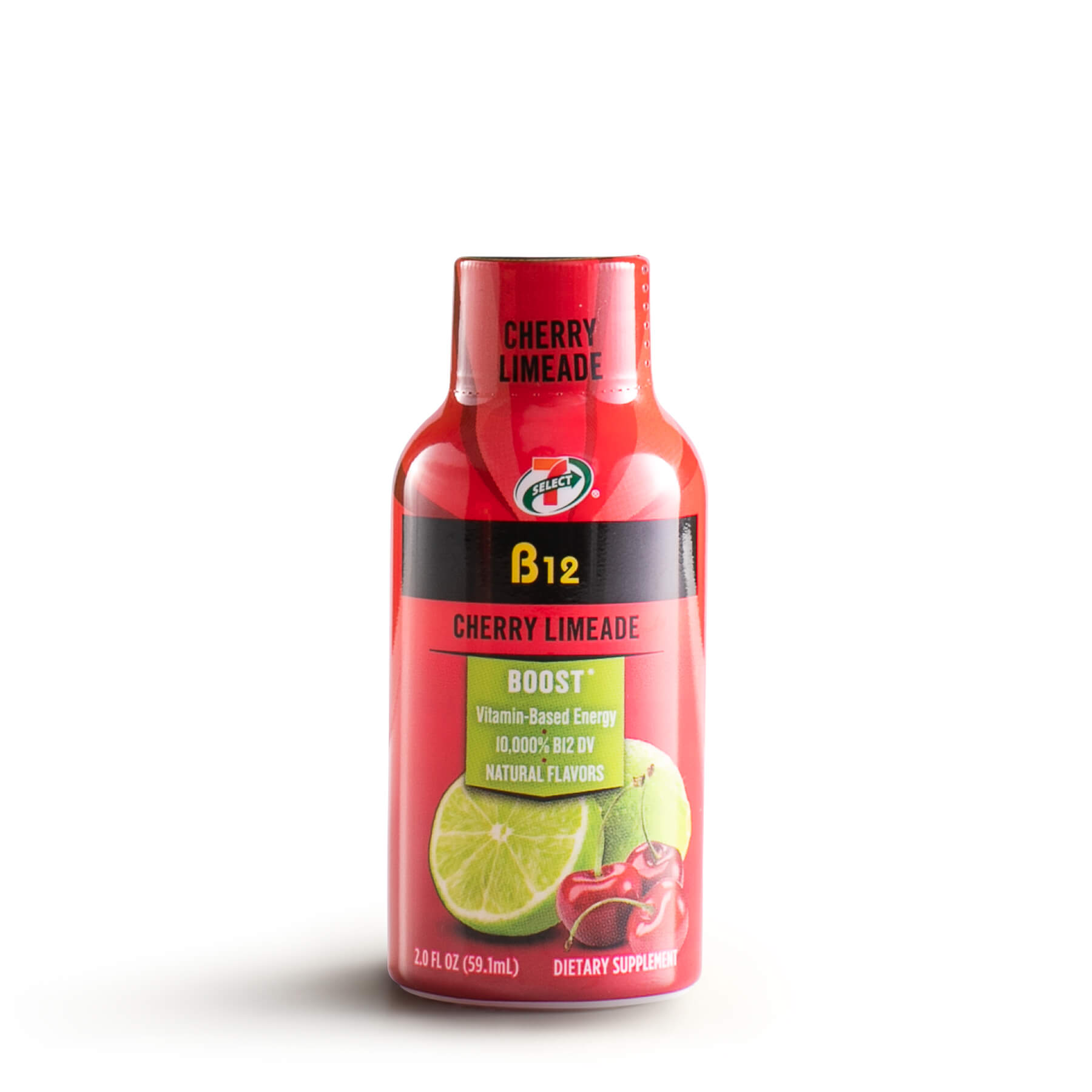 A single 7-Select B12 energy shot in cherry limeade flavor.