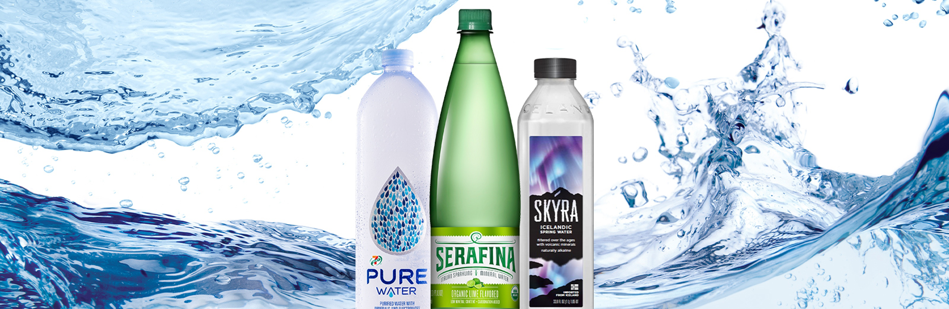 Bottled water available at your local 7-Eleven 24/7. Pictured: A bottle of PURE, Serafina and Skyra water on a background featuring a large blue splash.