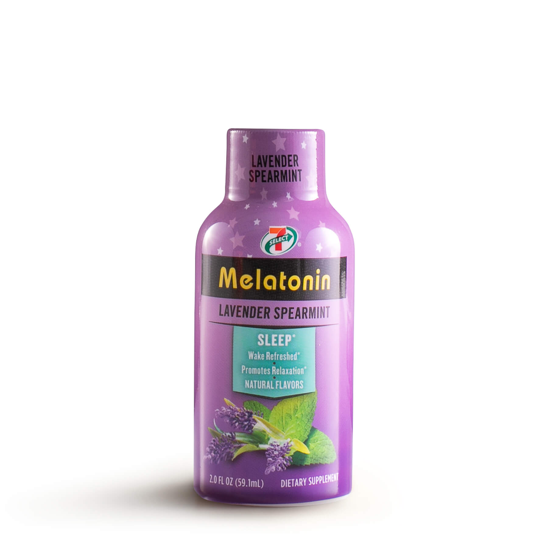 A single 7-Select Melatonin shot in lavender spearmint flavor.