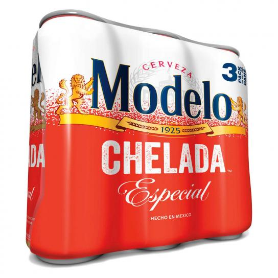 Modelo Chelada Especial beer 3 pack. Modelo beer near me available 24/7 at 7-Eleven.