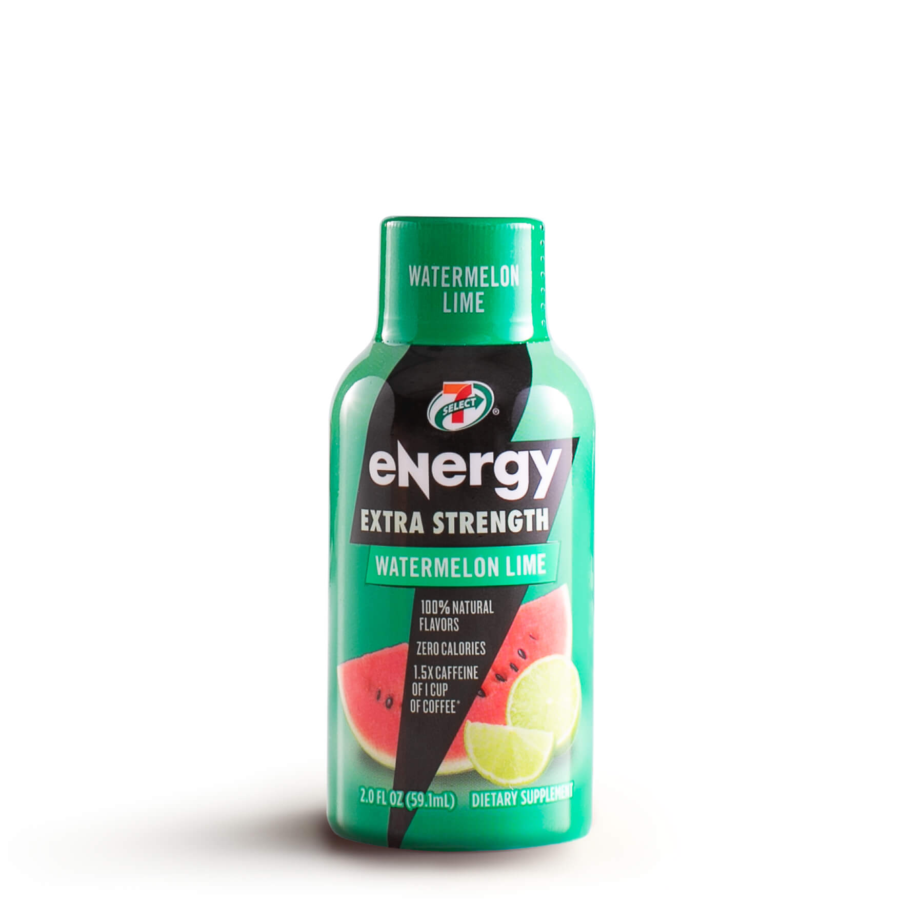 A single 7-Select extra strength energy shot in watermelon lime flavor