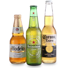 A bottle of Modelo, Heineken and Corona beer. Whatever you  drink, if you're looking for beer near me 7-Eleven has you covered 24/7.