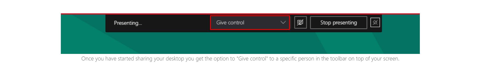 donner le contrôle de son bureau à un participant Teams
