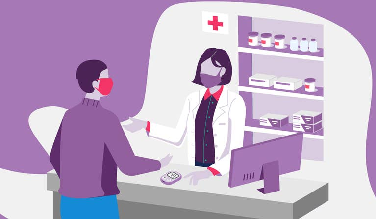 Illustration of a man getting his prescription medication at a pharmacy