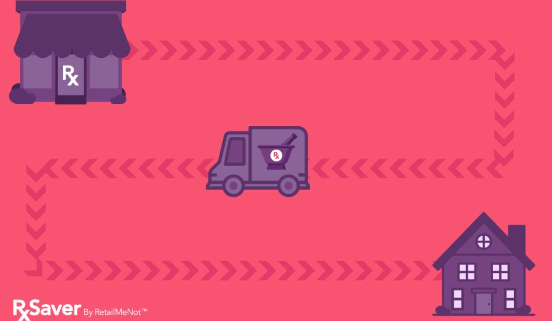 Illustration of pharmacy delivery vehicle bringing medication from a pharmacy to a home during Coronavirus (COVID-19).