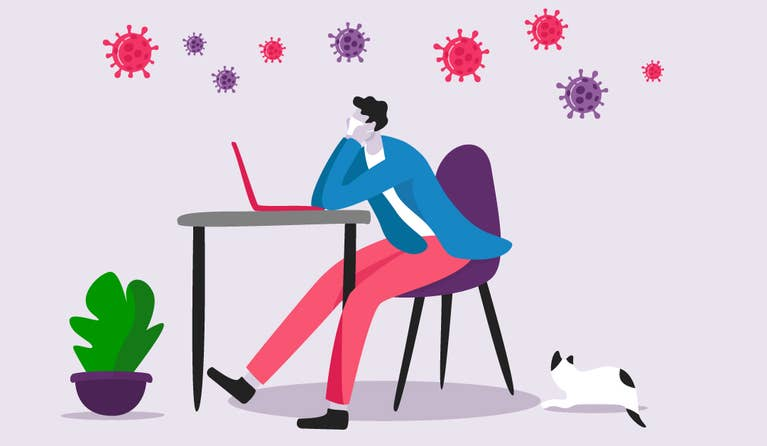 illustration of a man looking at his computer and bored with coronavirus cells floating above his head