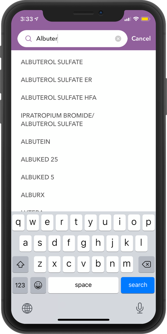 Screenshot of how you can search your prescriptions on RxSaver.