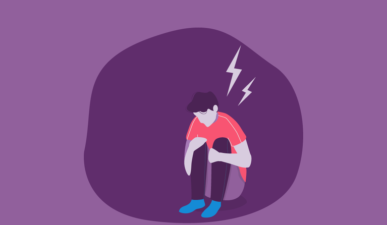 Illustration of a man hunched over having an anxiety attack