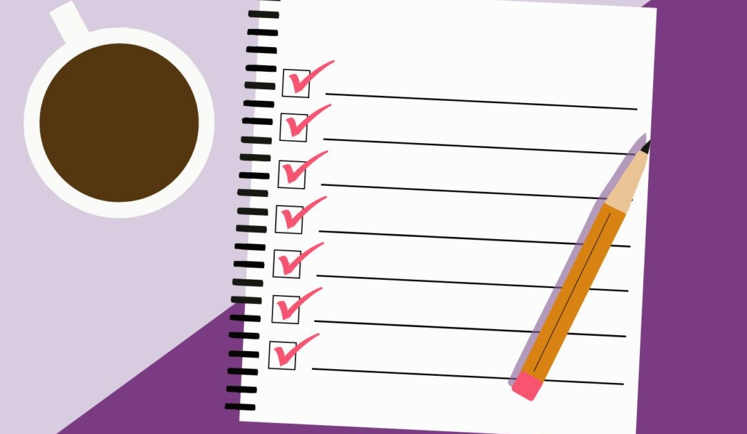 Illustration of a checklist, pencil, and cup of coffee.