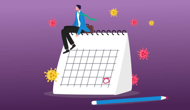 Illustration of a man sitting on a calendar with viruses surrounding the calendar