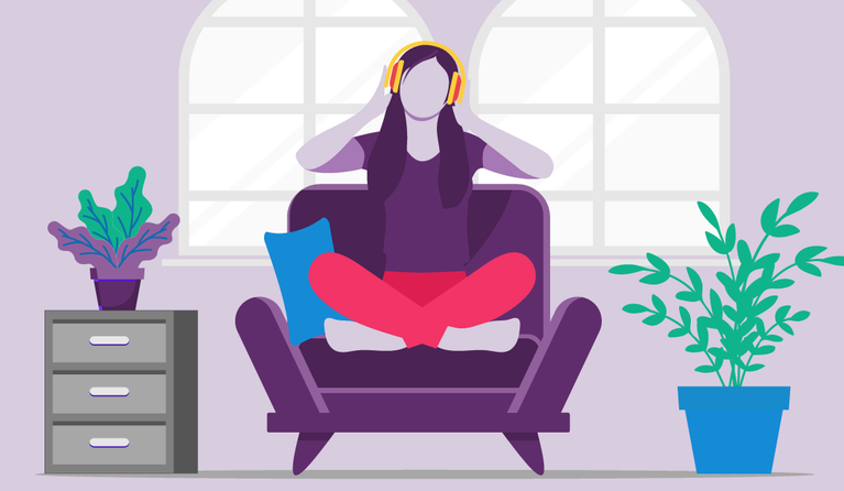 Illustration of a woman sitting in a chair holding to her headphones.