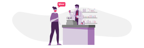 An illustration of a woman with a mask on getting her prescription medication at the counter from her doctor using RxSaver