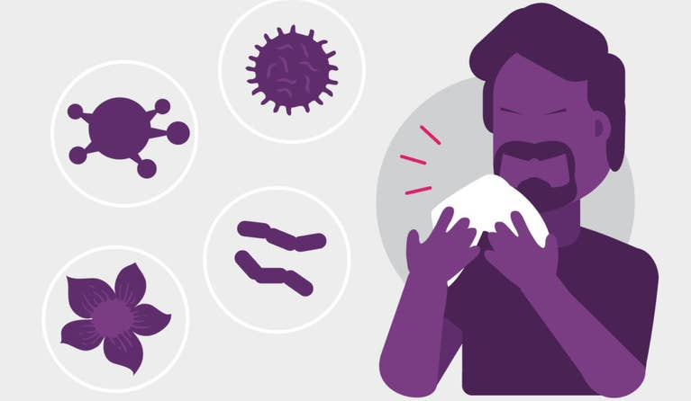 Illustration of a man who is blowing his nose and doesn't know if it's because of a cold, flu, allergies or COVID-19