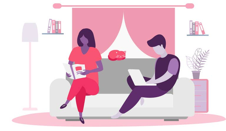 Illustration of a man typing on his laptop and a woman reading a book, and they are both on a couch.