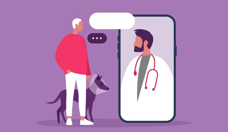 Illustration of a man with his pet talking to a vet via telephone
