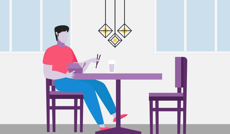 Illustration of a man sitting at his kitchen table eating takeout.