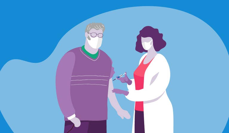 Illustration of a nurse giving a man the COVID-19 vaccination.
