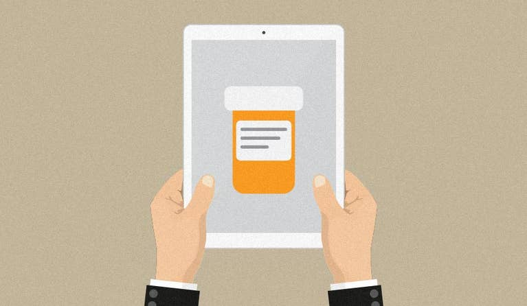 Illustration of a person's tablet trying to find discounts for their prescription online