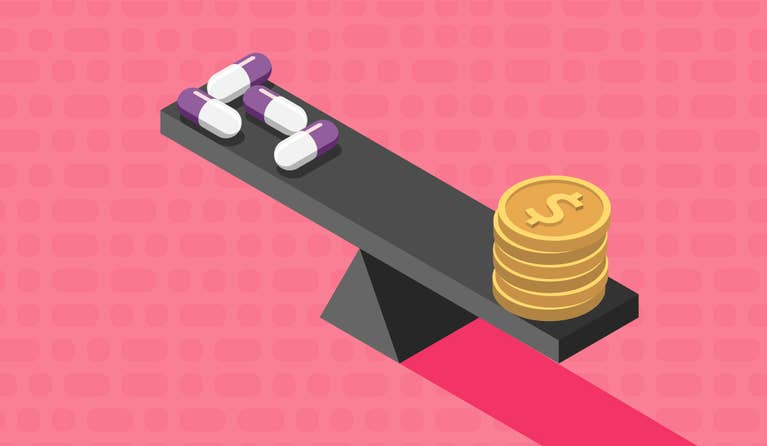 Illustration of a scale with coins on one end and pills on the other symbolizing how you can compare prescription prcies
