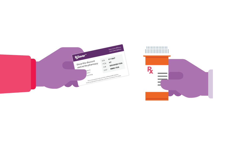 Illustration of two hands. One is holding an RxSaver Prescriptions Savings Card and the other is holding an orange bottle of prescription drugs.