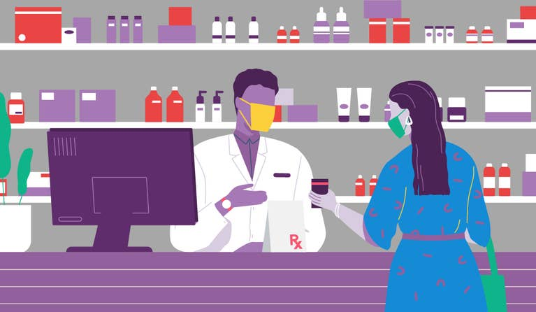 Illustration of a masked patient using an RxSaver coupon on her phone while picking up her medications at the pharmacy.