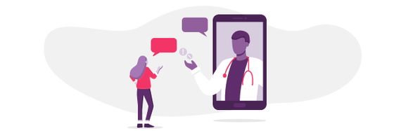 An illustration of a woman talking to her doctor through a tablet.
