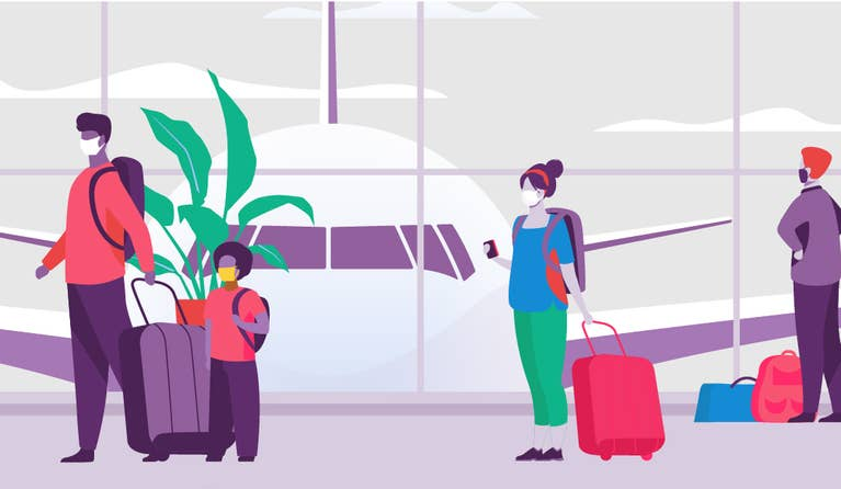 Illustration of people at an airport with masks on during COVID-19
