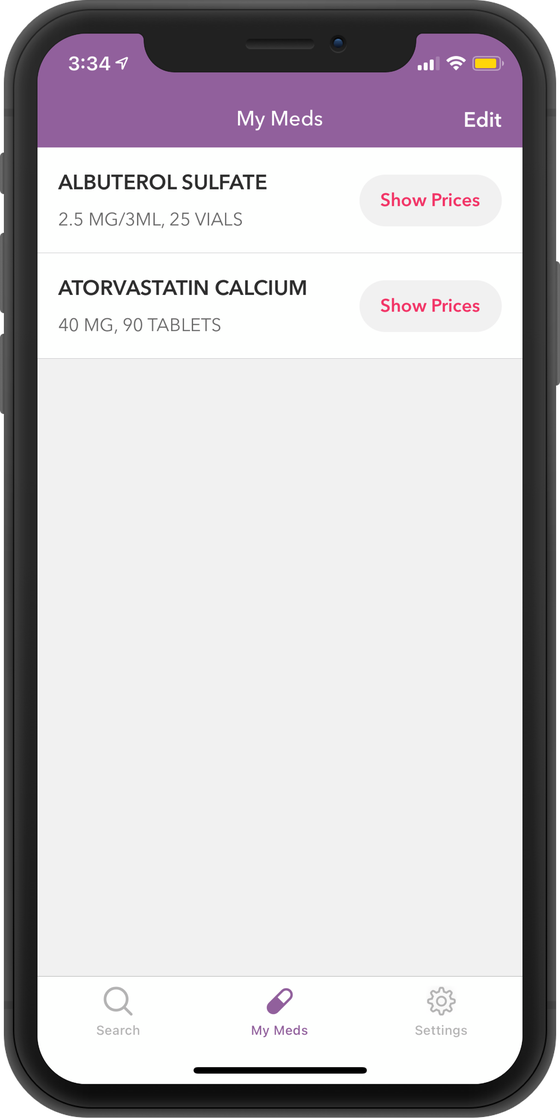 Screenshot of where you can save your medications on RxSaver