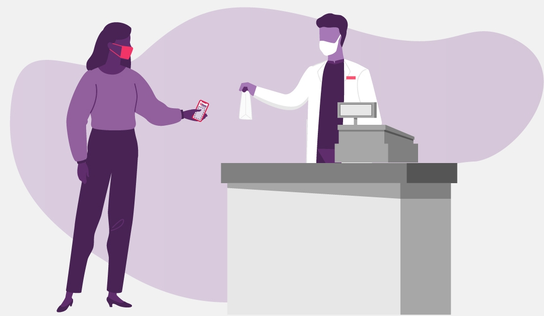 Illustration of a woman getting her prescription medication from her pharmacist during COVID-19.