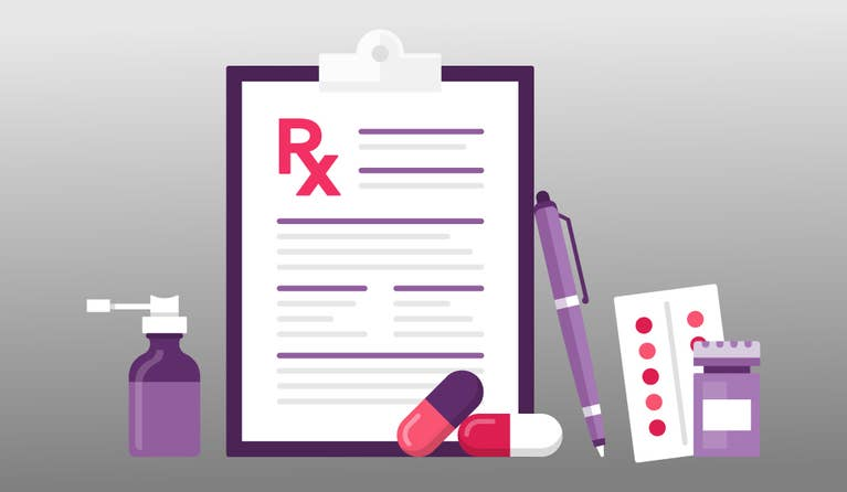 Illustration of an Rx clipboard and there is a pen and medications next to the clipboard
