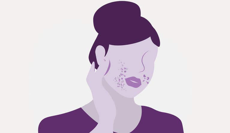 Illustration of a woman putting on cream.