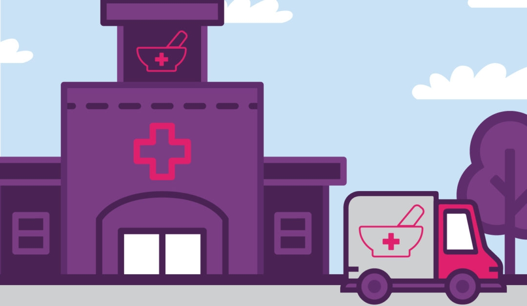 An illustration of a pharmacy delivery truck parked in front of a pharmacy