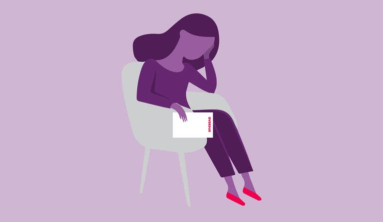 Illustration of a woman who has lost her health insurance during COVID-19. She is seated in a gray chair, holding her face in her left hand and a stack of health insurance papers in her right hand.