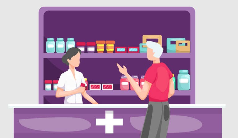 Illustration of a man getting his prescription at the best price from his pharmacist at the pharmacy