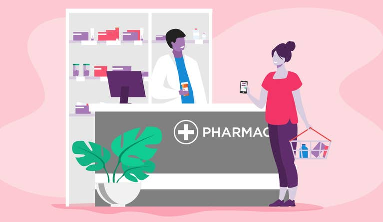 Illustration of a woman using the RxSaver app at her pharmacy.