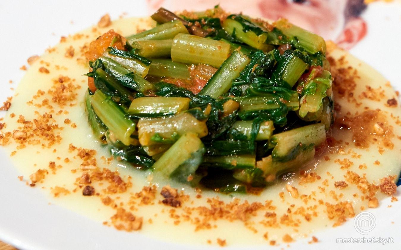 Catalogna, crema di patate, panure di nocciole e pane all'Alchermes, mille punti di mela e carota