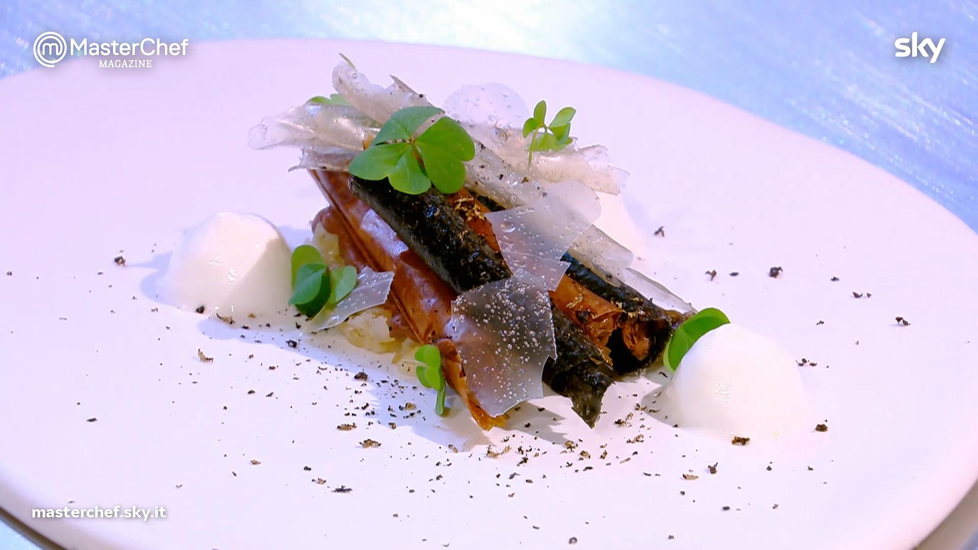 Dentelle croccante, composta di heliantis, pomponette e tartufo nero di Chef Mammoliti
