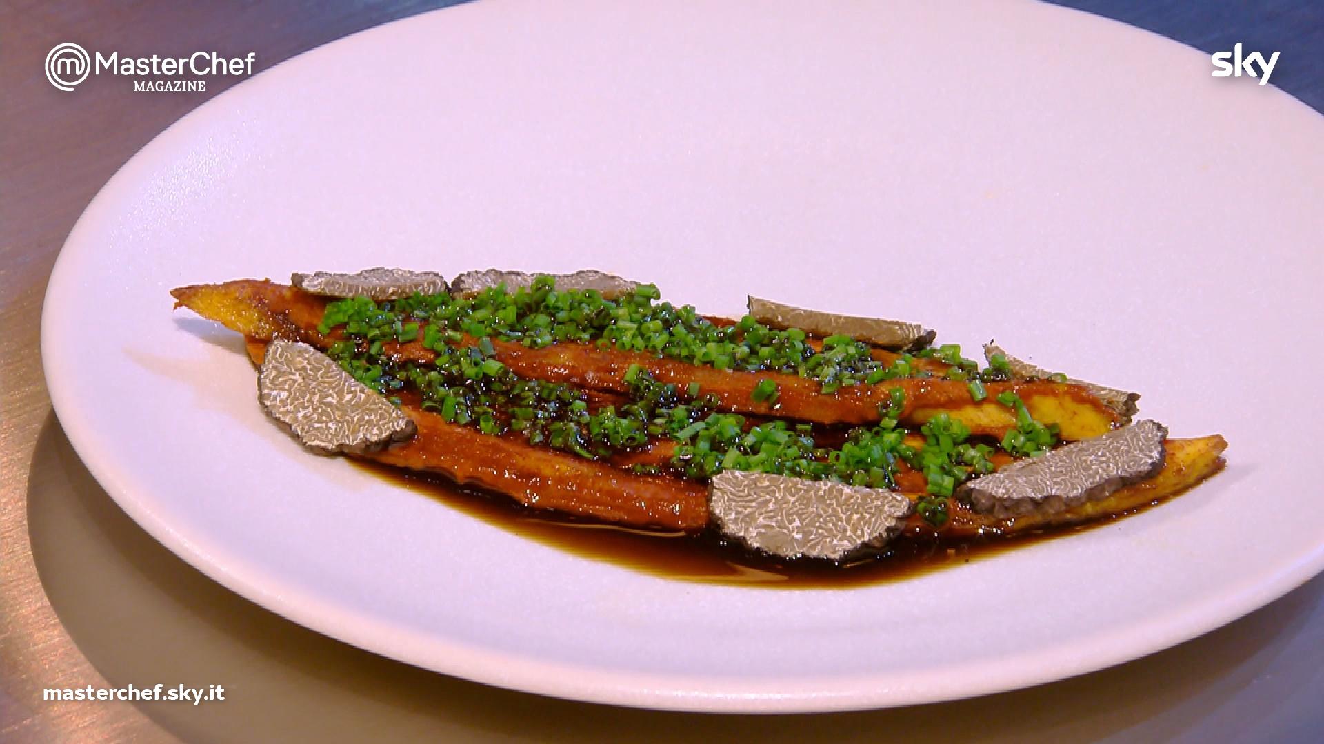 Platano caramellato allo zenzero e alga kombu di Chef Jeremy Chan