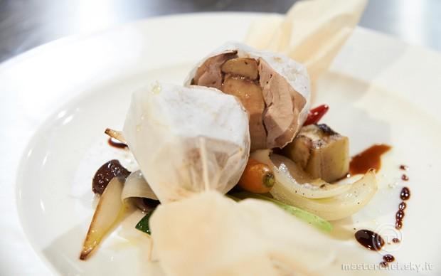 Quaglia in cartoccio con caponata di verdure