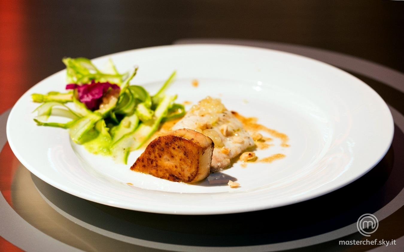 Rombo e scaloppa di foie gras
